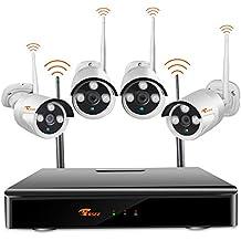 Cámaras De Vigilancia Inalámbricas,CORSEE WiFi De Seguridad Kit 720P Inalámbrico Sistema De Videovigilancia Sin