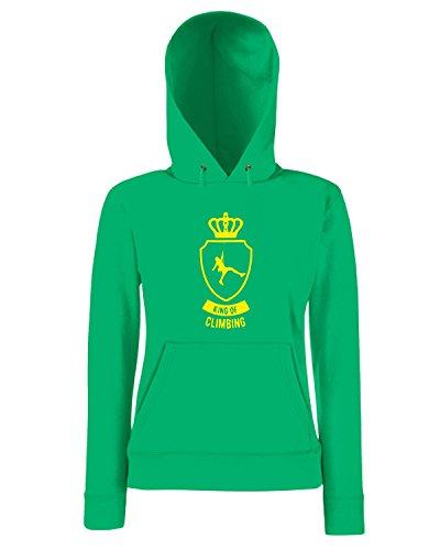 T-Shirtshock - Sweatshirt a capuche Femme SP0102 King of Climbing Maglietta Vert