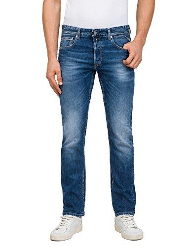 Replay Herren Grover Straight Jeans, Blau (Mid Blue Denim 7), W31/L34