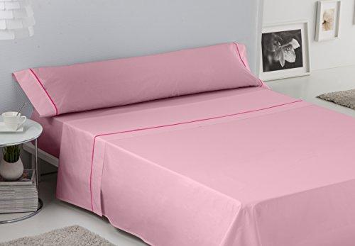 ES-TELA - Juego de sábanas LISO con BIÉS color Rosa 3 piezas - Cama de 90 cm. - 50% Algodón / 50%...
