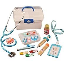 Arztkoffer Holz Spielzeug Arzt Spielzeug mit Stethoskop Zahnarzt Spielzeug f/ür Kinder Kleinkind Junge M/ädchen ab 2-6 Jahre YAKOK 24er Holz Arztkoffer Kinder