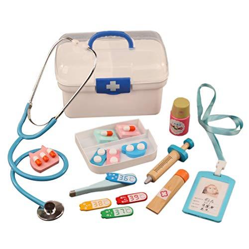 YAKOK 16er Holz Arztkoffer Kinder, Arztkoffer Holz Spielzeug Arzt Spielzeug mit Stethoskop Kinderarztkoffer für Kinder Kleinkind Junge Mädchen ab 2-6 Jahre (Blau)