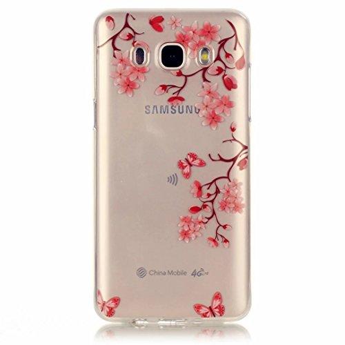 JINCHANGWU Samsung Galaxy J5 (2016) J510 Handyhülle Telefon-Kasten aus weichem TPU hülle mit Handytasche mit verstärkten Kanten Handy-etui hochwertiges soft-case Silikon bumper TPU cover Romantische Blumen rosa Kirschblüten Rosa schmetterling (Schuhe Symbol Weiß)