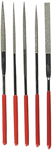 3mm x 140mm manche rouge plat Equalling Carré Rond Limes aiguilles Lot de 5