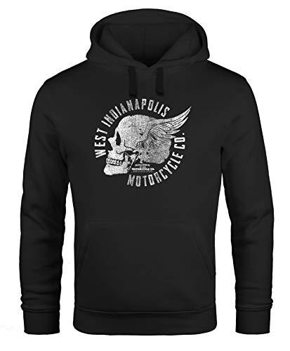 Neverless Hoodie Herren Sweatshirt Motorrad Biker Totenkopf Skull Wings Vintage Kapuzenpullover schwarz M