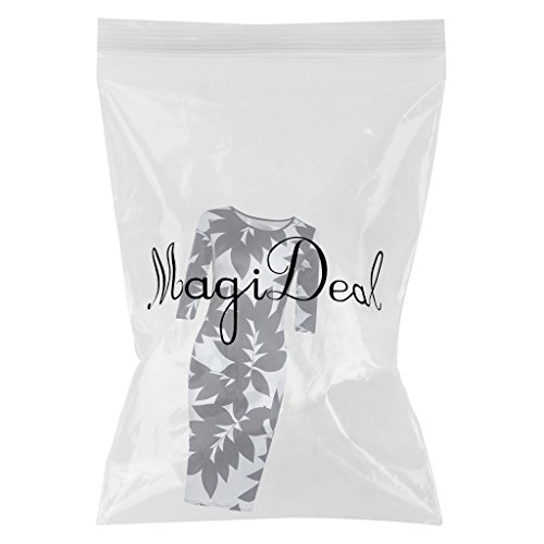 MagiDeal Donne Abiti Moda O Collo Mezzo Del Manicotto Lascia Stampa Anca Sottile Vestito nero+bianco