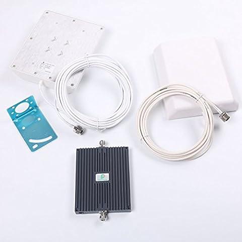Proutone Amplificador de Refuerzo de la Señal del Teléfono Móvil del Repetidor ALC Amplificador 900/2100MHz double-band GSM + kit de Antena Panel