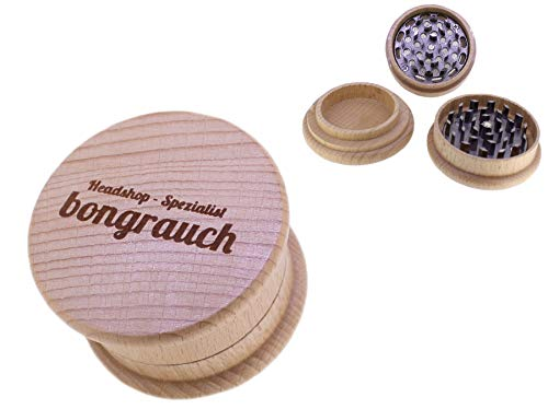 Crusher aus Holz Ø 65 mm mit solidem Diamantzahn-Mahlwerk Grinder, Grasmühle Holz Grinder (Kräutermühle)