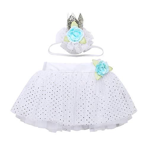 YiZYiF Mädchen Baby Bekleidungsset Tutu Tüllrock Bowknot Rock mit Blumen Kopfschmuck Kinder Pettiskirt Dancewear Karneval Halloween Weiß One Size