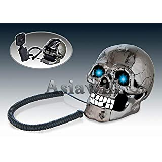 Asiawill Cool Fearful Novelty Skull Shape Phone Home Office Wired Telephone (Black)