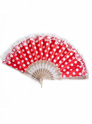 La Señorita Abanico Flamenco rojo con puntos blancos vestido Español