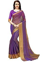 [Sponsored]Glory Sarees Women's Poly Silk Saree(jari138purple_Purple)