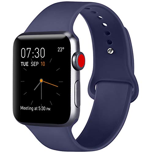 ATUP Armband Kompatibel für Apple Watch Armband 38mm 42mm 40mm 44mm, Weich Silik on Ersatz Armband für iWatch Series 4, Series 3, Series 2, Series 1 (04 Navy Blue, 38mm/40mm-S/M)