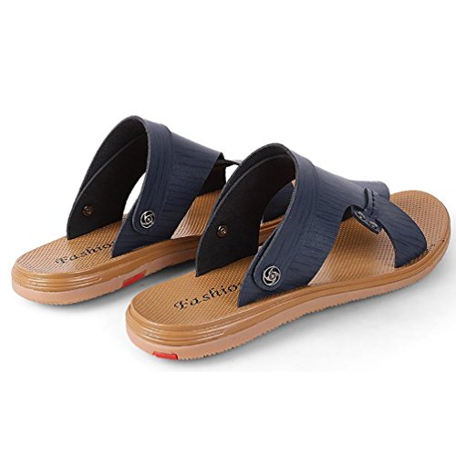 SHANGXIAN Pigro guida suola sandalo uomo piatto (due generi di tees) Blue