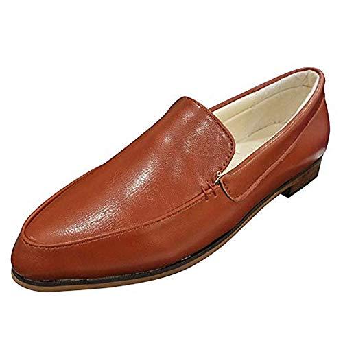 Mokassins Damen Leder Loafer Mit Absatz Halbschuhe Flache Knöchel 2.5 cm Keilabsatz Bootsschuhe Sommer Casual Elegant Braun 38