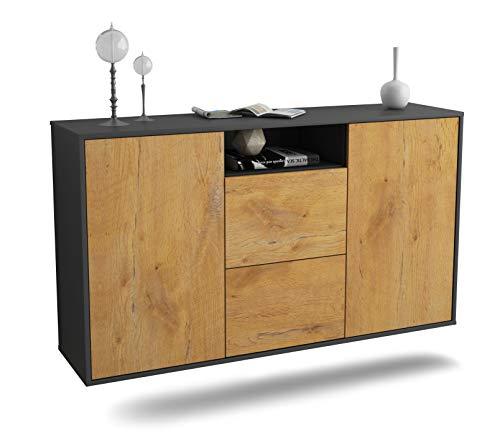 Sideboard Dayton hängend (136x77x35cm) Korpus anthrazit matt | Front Holz-Design Eiche | Push-to-Open