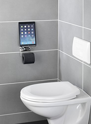 wenko 21809100 toilettenpapierhalter mit smartphone ablage edelstahl rostfrei 14 x 115 - Freistehender Toilettenpapierhalter Mit Lagerung