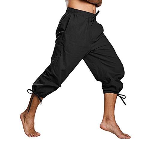 Kostüm Mann Ein Bein - MEIHAOWEI Männer Mittelalter Hosen Cosplay Kostüm Pirat Wikinger Renaissance Bein Bandage Lose Hose Halloween Kostüme für Männer Erwachsene Hosen