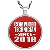 Designsify Computer Technician Since 2018 - Circle Necklace Red/One Size, Kette Silber Beschichtet Charme-Anhänger, Geschenk für Geburtstag, Weihnachten