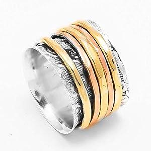 Meditationsringe, Spinnerringe, Silberringe für Frauen, Spinning Ring for Women, 925 Sterling Silver Band, Brass and…