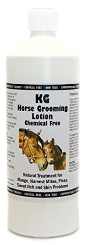 KG Horse Grooming Lotion 1000 mls for grooming, cleansing and disinfecting against biting mites, harvest mite, bird mites, sweet itch, ticks, allergies and itchy skin problems. Pesticide & chemical free made with organic plant/fruit enzymes