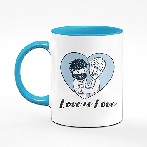 Tasse Love is Love - Pride Kaffeetasse - Liebe ist Liebe - Homosexuell - Schwule Geschenke - Blau - 2