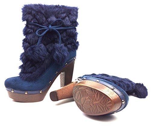 Hikenn Stiefel High Heels Plateau Stiefeletten Boots Pumps Wadenhohe Gr.35 - 40 38