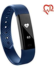 Toksum® Alfa HR® Smart Band | Alta HR Alternative de la fréquence cardiaque de santé Fitness tracker d'activité podomètre Bracelet montre | pour enfants, homme et femme | pour iPhone et Android