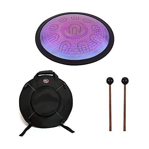 Muslady Hand Pan Drum UU Drum 16 pollici D-Minor Lega Steel Tongue Drum 10 doppio tono Tongues Strumento a percussione con Borsa per batteria