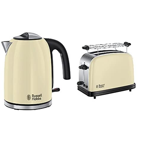 Russell Hobbs 20415-70 Colours Plus+ Classic Cream Wasserkocher + Colours Plus+ Classic Cream Toaster
