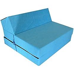 Natalia Spzoo® Matelas de jeunesse lit fauteuil futon pliable pliant choix des couleurs - longueur 160 cm (Bleu)
