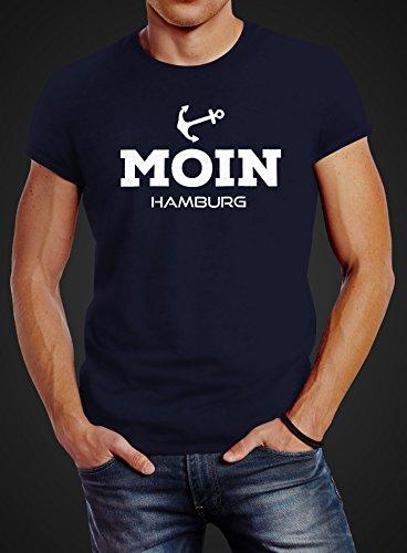Neverless Herren T-Shirt Moin Hamburg Anker Slim Fit Moin Hamburg navy