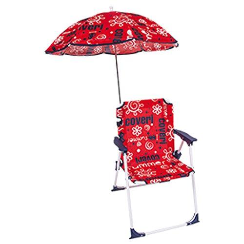 Bakaji sedia regista per bambini pieghevole mare con ombrellone baby per mare spiaggia piscina 37x25x52cm (rosso)