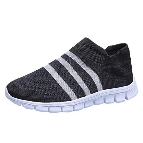Damen Laufschuhe Fliegen Weben Sneaker Socken Schuhe Turnschuhe Freizeitschuhe Student Leichte Sportschuhe für Trainning Running Fitness Gym Walking Jogging Laufen, Schwarz-2, 39 EU