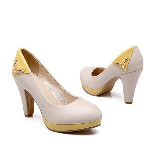 VogueZone009 Damen Ziehen Auf Rund Zehez Pu Leder Gemischte Farbe Pumps Schuhe Cremefarben
