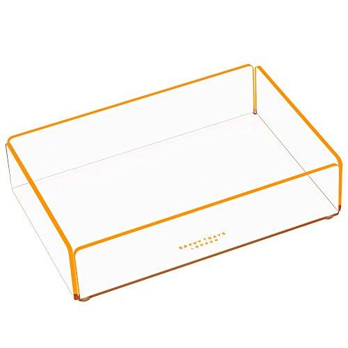 Savvy-Vassoio piccolo in acrilico trasparente, impilabile, vassoi, contenitori con righe colorate in contrasto., plastica, arancione, 20 x 13.5 x 5 cm