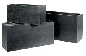 Artificielles - Jardiniere l 60 x 25 x h 30 cm noire luxe resine fibre de verre balcon - choisissezvotredimension: 60 x 25 x h 30 cm