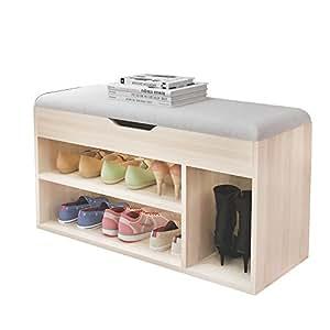 soges schuhbank sitzbank schuhbank holz 80 30 45cm. Black Bedroom Furniture Sets. Home Design Ideas