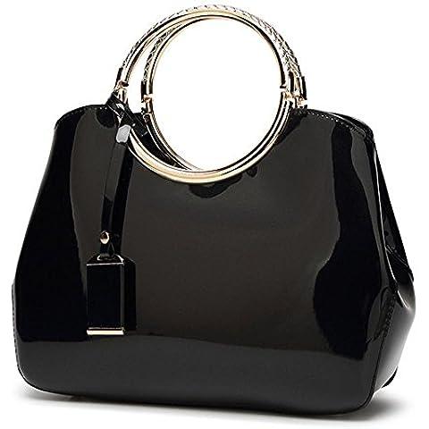 La Sra cuero de patente de la manera del bolso de la novia del hombro del bolso del banquete (28 * 10.5 * 22cm) , black