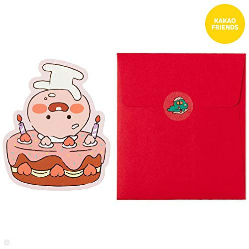 KAKAO FRIENDS Herz-Mitteilungskarte des Geburtstagsgeschenkgeschenks leere mit Umschlag und einem Aufkleber für Kinder bemuttern Vater Ein Pfirsich