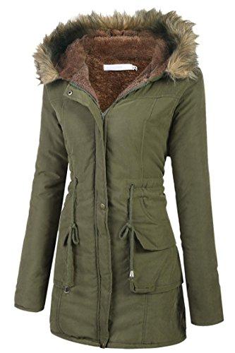 Tomasa parka cappotto giacca donna invernale lungo di pelliccia con cappuccio m-xxl 3 colori (xxl, esercito verde)