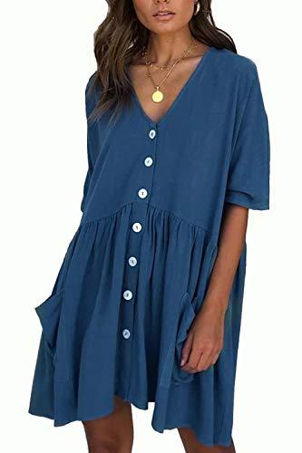 Kleider Basic Damen T Shirt Kleid Kurzarm Causal Lose Button Sommerkleider V-Ausschnitt Mini Kleid Tunika(bl,XL)