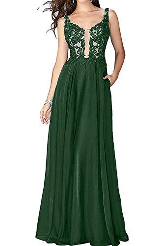 La_Marie Braut Rosa Festliche Damen Kleider Brautmutterkleider Lang Abendkleid Mit Spitze Kleider A-linie Dunkel Gruen