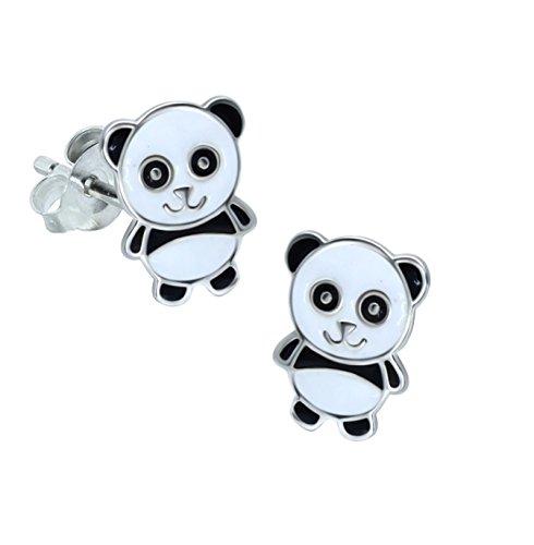 Oso Panda pendientes–plata de ley