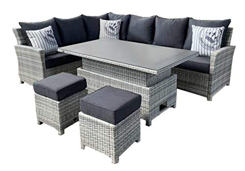 Mandalika Garden Hohe Dinning Poly Rattan Lounge Parla Deluxe, inklusive höhenverstellbarem Tisch