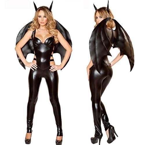 XSMG Damen Sexy Schwarz Böse Vampir Unterwäsche Lackleder aus Jumpsuits Fledermaus Teufel Rolle Spielen Vampir Dämon Kostüm,Black,XL (Teufel Dämon Kostüm)