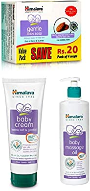 Himalaya Baby Cream, 200ml, Gentle Soap Value Pack, 4 * 75gand Massage Oil (500ml) Combo