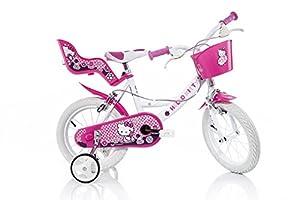 HELLO KITTY Original 16 inch KIDSBIKE girl child-bike childrenbike bicycle toybike white-pink Dollycarrier frontbasket training-wheels mudguard from DINO BIKES