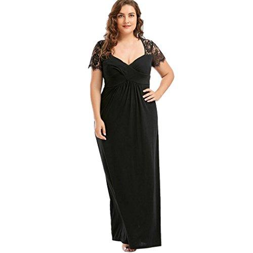 VJGOAL Damen Kleid, Frauen Plus Size Mode V-Ausschnitt Floral Maxi Abend Cocktail Party Hochzeit Boho Strand Frühling Sommerkleid (3XL / 48, W-Spitze-schwarz)