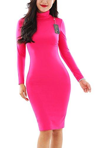 YMING Damen Elegantes Partykleid Figurbetontes Kleid Bodycon Stil Rollkragen Langarm Kleid...